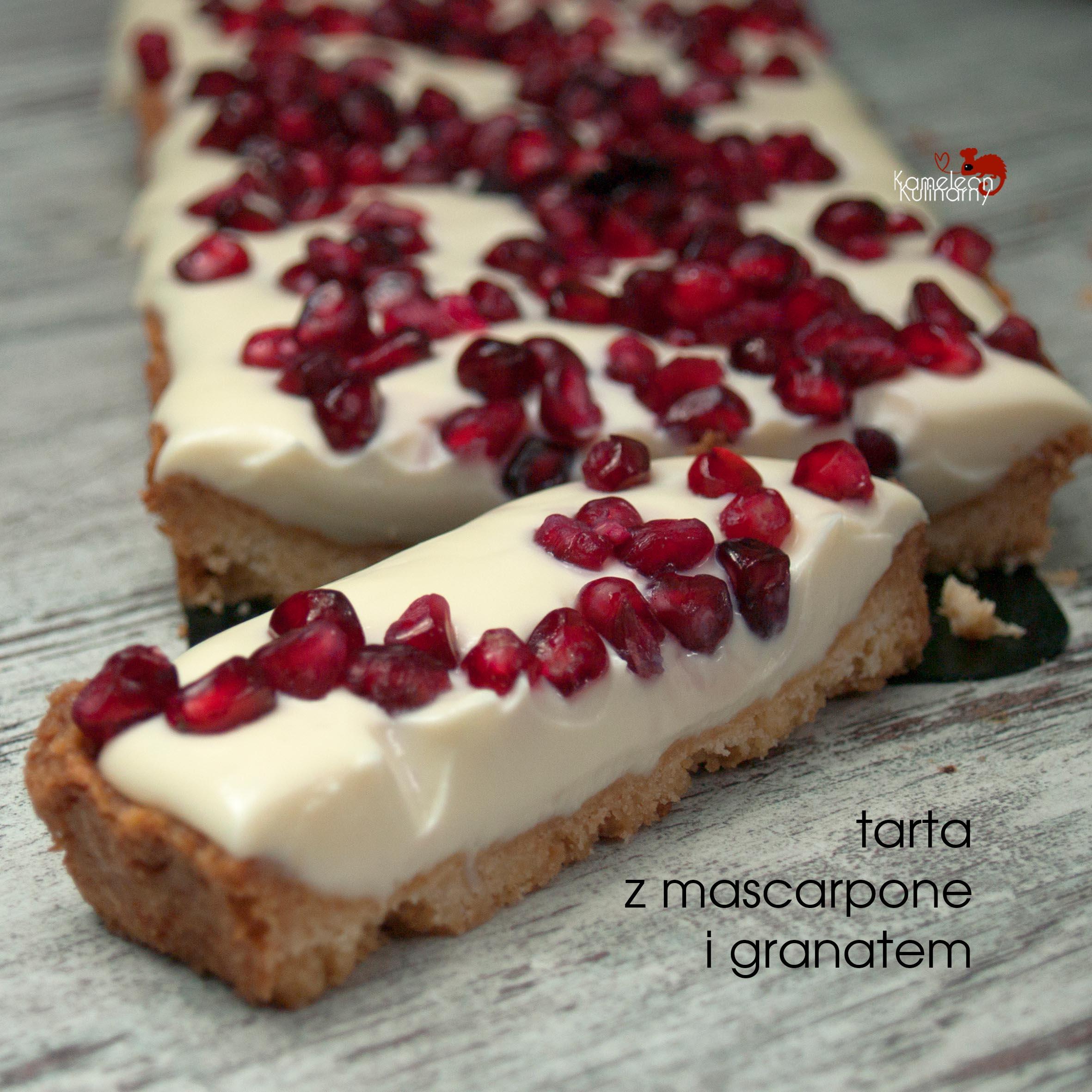 TARTA Z MASCARPONE, białą czekoladą i granatem