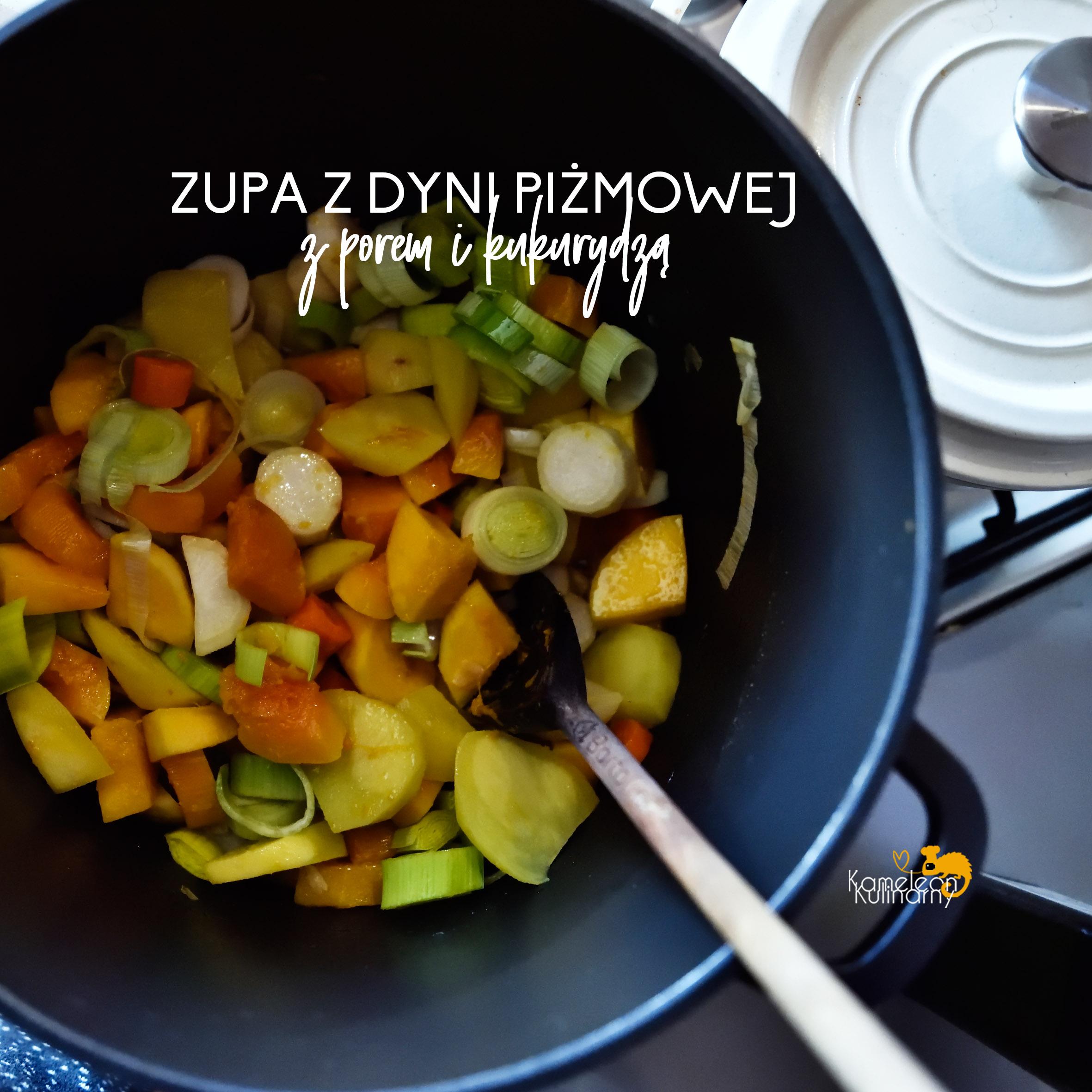 Zupa krem Z DYNI PIŻMOWEJ z porem i kukurydzą