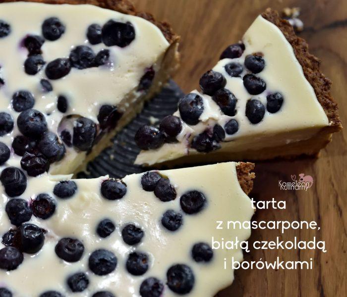 TARTA z mascarpone z białą czekoladą z borówkami